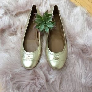 Pre Loved Coach Metallic Gold LeatherFlat Size 10M